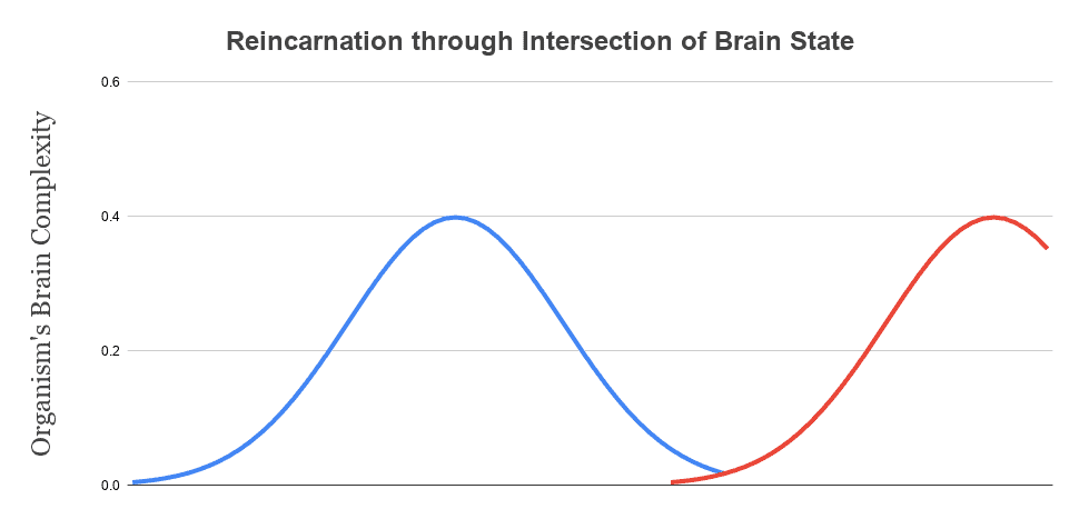 As a dying organism (in blue) declines and its brain complexity approaches zero. This state intersects with the state of a developing organism (in red). The result is a teletransportation: the brain dies in one location and is recreated in another location, with different material.