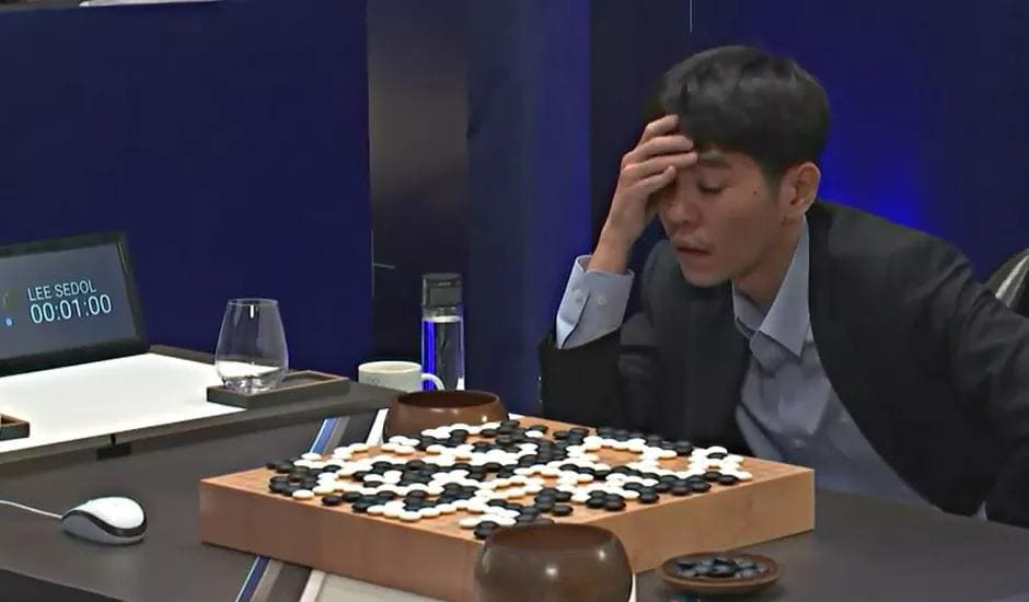 World champion go player Lee Sedol moments before resigning the 5th game.
