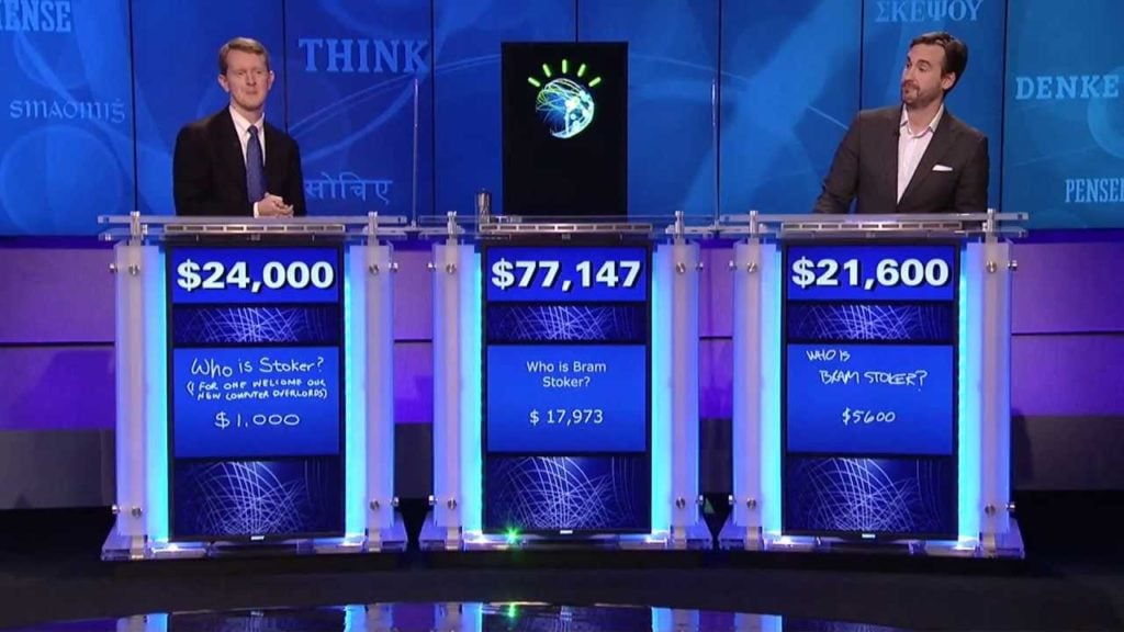 IBM's Jeapordy! playing AI Watson handily beats its world-class human opponents.