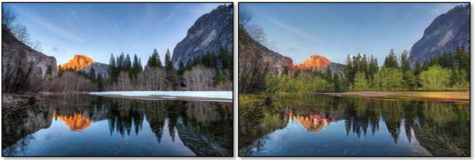 """A picture of Yosemite taken in winter """"reimagined"""" by the AI as a summertime scene. Note the added foliage and melting of snow."""