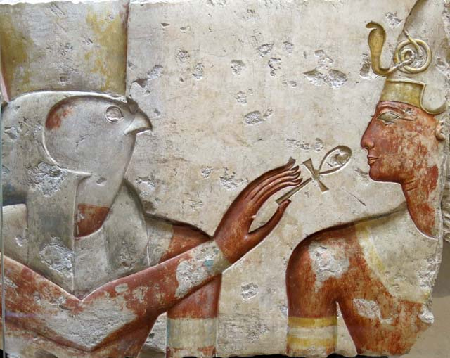 Horus holds an ankh to Ramses II. The ankh, called the cross of life, is a 5,000 year old symbol of eternal life. Coptic Christians adopted it as a symbol of the promise of everlasting life.
