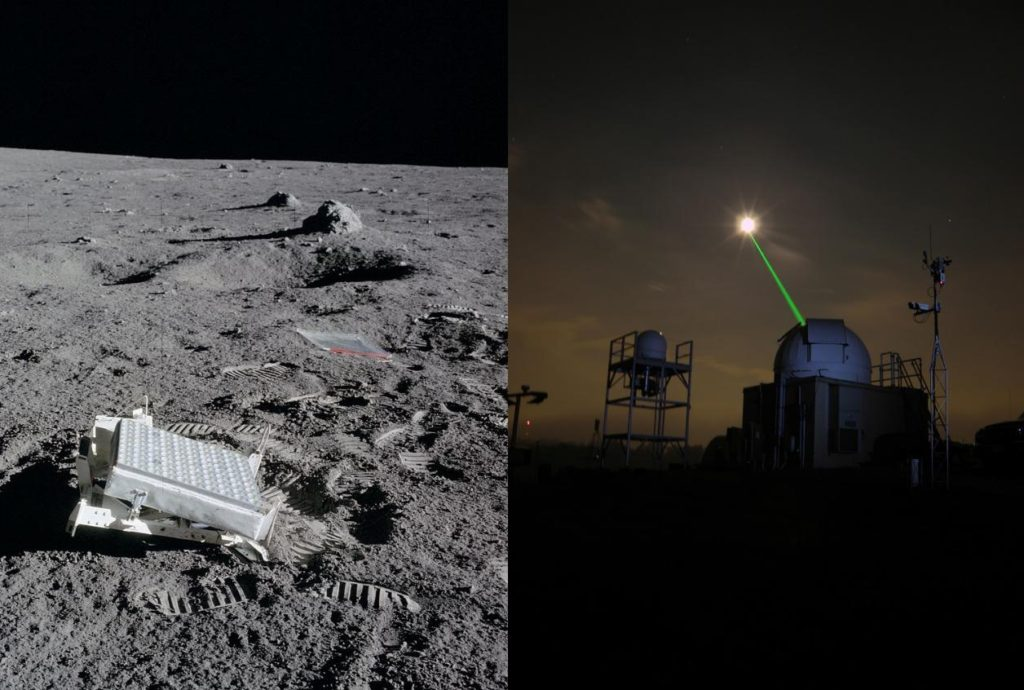 Left: Apollo astronauts left mirrors on the moon (the Lunar Ranging Retroreflectors). Right: Scientists on Earth can bounce lasers off these mirrors to get a return signal. Image Credit: NASA