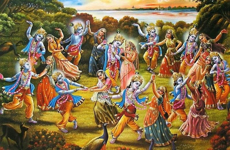 The divine play called The Raslila of Krishna. Image Credit: Wikimedia