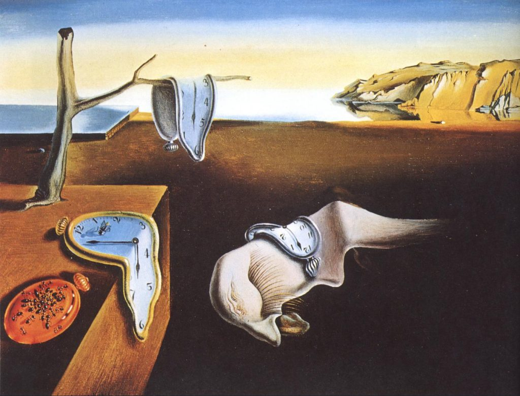 "Salvador Dalí depicts clocks melting in ""The Persistence of Memory"" (1931)"