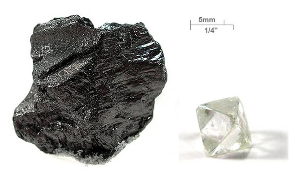 Elemental carbon can appear in several forms, including graphite, coal, fullerenes, and diamond. Image Credit: Wikipedia
