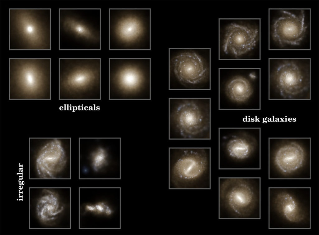 These are not actual galaxies, but objects found in computer simulations. Galaxy-like objects only appear with the right mix of dark matter in the simulation. Image Credit: Illustris Project