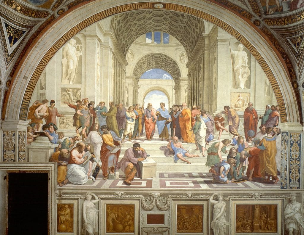 Raphael's masterpiece The School of Athens depicts Plato and Aristotle at The Academy (1511)