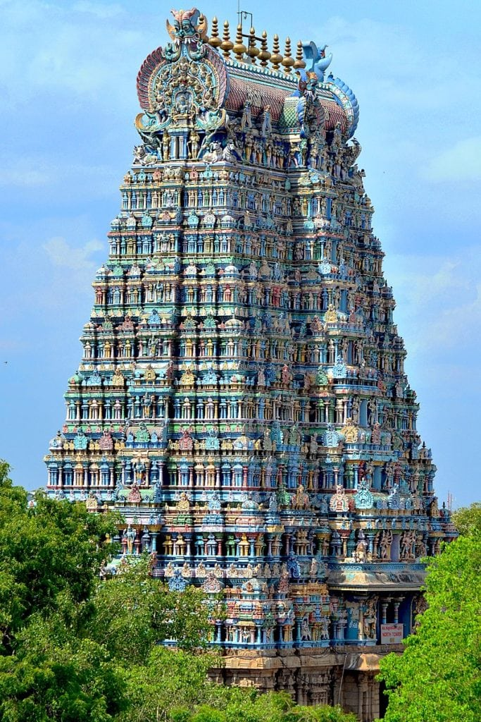 North Tower of the Meenakshi Amman Temple in Madurai, India. Image Credit: Wikimedia